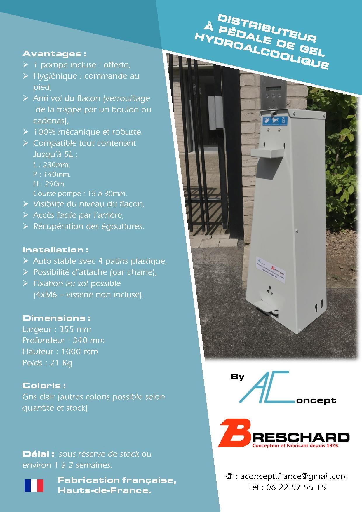 distributeur à pédale de gel hydroalcoolique